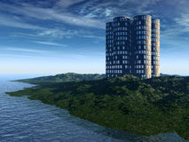 New Earth. A modern building in a beautiful forest stock photo