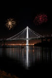 New East span of Bay bridge night shot Royalty Free Stock Photography