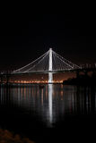 New East span of Bay bridge night shot. Long exposure photo of the New East Span Bay Bridge illuminated at night, reflecting glowing lights of the city behind it stock photos