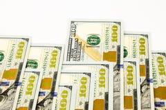 New edition 100 dollar banknotes, money for bonus and dividend c. New edition 100 dollar banknotes, money and currency for bonus and dividend concept Stock Image