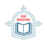 New education - vector logo template concept illustration. E-book creative sign. Modern technology. Emblem for school. Royalty Free Stock Images