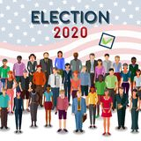 New elections in United States conceptual illustration. Many different casual style flat design people standing for new president elections in United States stock illustration