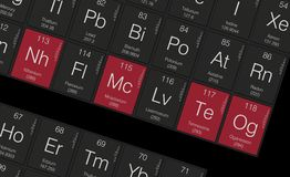 New elements in the periodic table Royalty Free Stock Photos