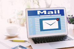 New email notification on laptop Royalty Free Stock Photography