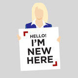 New Employee Holding Sign Royalty Free Stock Images