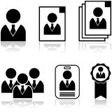 New employee. Icon set showing different stages in the selection and hiring of new employee Stock Image
