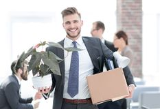 Free New Employee On The First Day At The Workplace Stock Photos - 133703553