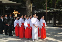 New employee orientation at Meiji Jingu Shrine. Tokyo, Japan. Meiji Shrine located in Shibuya, Tokyo, is the most famous Shinto shrine in Japan Stock Photos