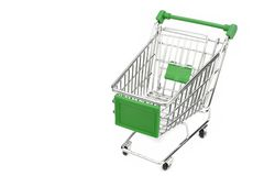 New Empty Green Shopping Cart Isolated On White Background Stock Photos