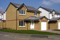 New Empty housing estate. A housing estate just finished but not yet occupied Royalty Free Stock Image