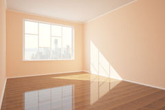 New empty interior. With shiny wooden floor, concrete walls, window with city view and daylight. 3D Rendering Stock Image