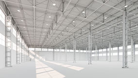 New empty white industrial building interior 3d illustration. Background Royalty Free Stock Image