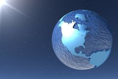 New energy. 3d render of the globe on a blue starry background Stock Image
