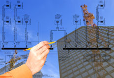New energy technology in construction. Basic fundamental electrical schema for connection force electric equipment Royalty Free Stock Image