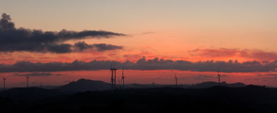 New energy. Wind farm in vedras towers, Portugal Royalty Free Stock Photography
