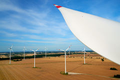 New energy. Wind Turbine from above Stock Photo