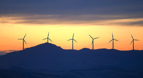 New energy wind turbines stock photos