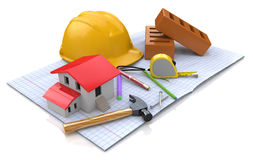 New engineering plan, small house, сonstruction helmet, station Stock Image