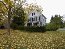 New England American home in Fall Royalty Free Stock Image