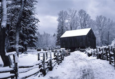 New England Barn in Winter Royalty Free Stock Photo