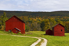 New England barns. Barns on a sunny autumn afternoon in the Berkshires town of Great Barrington, MA Stock Photos