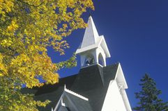New England church on an autumn day in Maine Stock Image