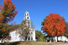 New England Church in Fall Stock Photography