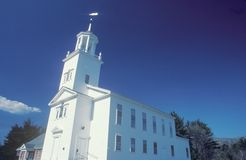 A New England church in Marlborough Massachusetts stock images
