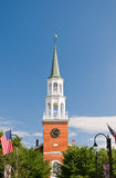 New England church steeple. Tall church steeple or spire with a bell tower.  Burlington, Vermont (USA Stock Photography