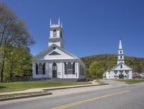 New England churches. Two New England churches located in Newfane, Vermont Stock Photo