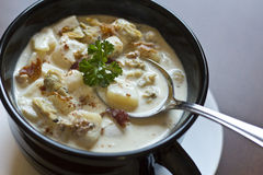 New England Clam Chowder Stock Photos
