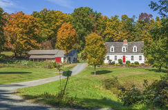New England Country Home With Autumn Colors Stock Photography