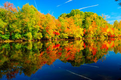 New England Fall. Fall colors reflecting in a river Stock Image
