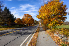 New England Fall Foliage Scene. A scenic view of fall foliage on a country road in Massachusetts Stock Photography