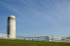 New england farm. Silo and fence at a New England working farm Stock Photo