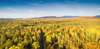 New England foliage in fall season. Aerial view.  Royalty Free Stock Images