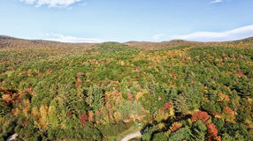 New England foliage in fall season. Aerial view Royalty Free Stock Image