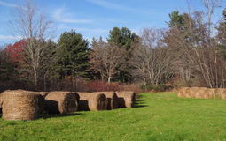 New England hay bales Stock Photos