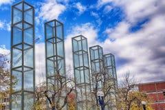 New England Holocaust Memorial Boston Massachusetts. Architect Stanley Saitowitz`s designed new england holocaust memorial on a sunny blue sky day in Boston royalty free stock photo