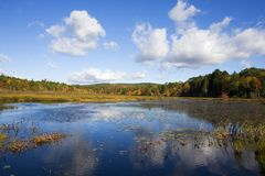 New England Lake in the Autumn Royalty Free Stock Image