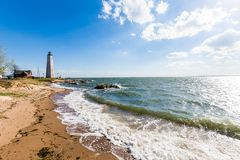 New England Lighthouse in Lighthouse Point Park in New Haven Con. Necticut royalty free stock image