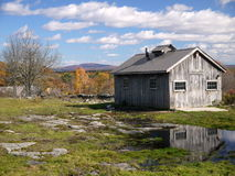 New England: maple sugar shack in autumn fall Royalty Free Stock Images