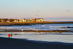 New England Ocean. Winter walk by the ocean on a New England beach Stock Photography