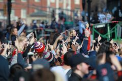 New England Patriots 53th Super Bowl Championship Parade in Boston on Feb. 5, 2019 royalty free stock images