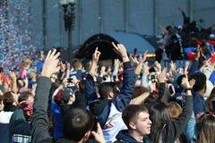 New England Patriots 53th Super Bowl Championship Parade in Boston on Feb. 5, 2019 stock photos