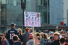New England Patriots 53th Super Bowl Championship Parade in Boston on Feb. 5, 2019 stock images