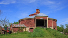 New England Red Round Barn. Historic New Hampshire red round dairy barn built in 1906 Stock Image