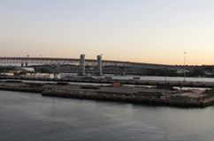 New England shipping harbor at sunrise Stock Photos