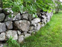 Free New England Stone Fence In Massachusetts Royalty Free Stock Photos - 119990198