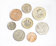 New english pound coin with 2017 release coins. The new pound coin to be released in March 2017, 12 sided shape and bimetallic. Designed to be difficult to Stock Photography